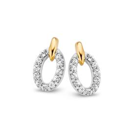 Excellent Jewelry Gouden Oorstekers met Witgouden Zirkonia Ovaaltjes