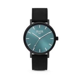 Zwart Horloge van Frank 1967 met Blauwe Wijzerplaat
