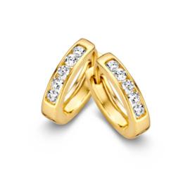 Excellent Jewelry Vlakke Geelgouden Creolen met Zirkonia Rij