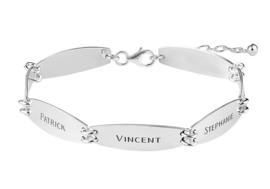 Names4ever Zilveren Armband met Zeven Naamplaatjes ZNA61