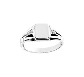 Zilveren Graveer Ring met Vierkant Kopstuk