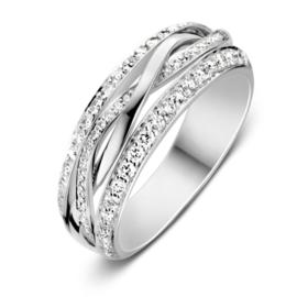 Excellent Jewelry Witgouden Ring met Twist Witgouden Strook