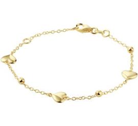 14k Geelgouden anker armband met hartjes, bolletjes en een karabijn sluiting.
