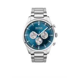 Hugo Boss Horloge Pioneer Zilverkleurig Horloge met Blauwe Wijzerplaat van Boss