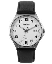 Zilverkleurig Heren Horloge met Zwart Lederen Horlogeband met Stiksel