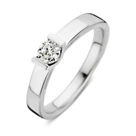Excellent Jewelry Vlakke Witgouden Ring met Kleurloze 0,30 crt. Briljant