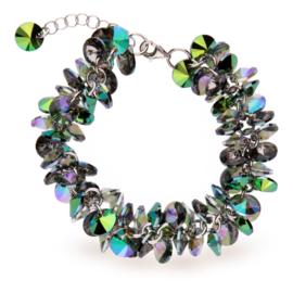 Frou Frou Aquablauwe met Paarse Swarovski Armband van Spark Jewelry