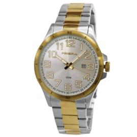 Prisma Heren Horloge met Edelstalen Horlogeband en Goudkleur