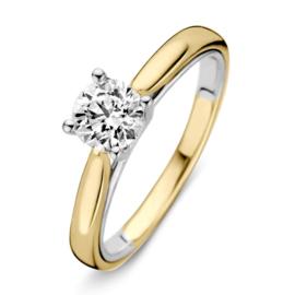 Excellent Jewelry Bolstaande Bicolor Ring met 0,74 crt. Briljant