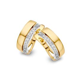 Excellent Jewelry Brede Bicolor Creolen met Kleurloze Briljanten