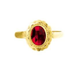 Vintage Gouden Ring met Ovaalvormige Granaat Steen
