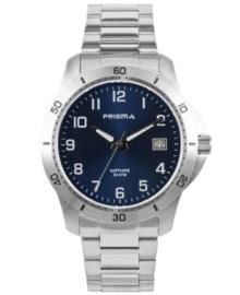 Zilverkleurig Horloge voor Heren met Blauwe Wijzerplaat en Witte Cijfers