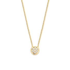 Excellent Jewelry Geelgouden Collier met Ronde Briljant Hanger