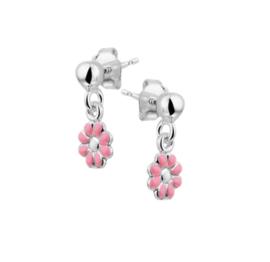 Zilveren Bloem Oorhangers met Roze Emaille