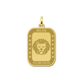 Rechthoekige Leeuw Sterrenbeeld Hanger van Goud