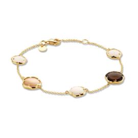 Excellent Jewelry Geelgouden Armband met Rookkwarts en Maansteen
