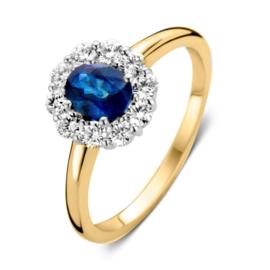 Excellent Jewelry Geelgouden Ring met 0,48 crt. Saffier Diamant