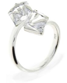Zilveren Ring met Dubbele Witte Swarovski Kubus van Spark Jewelry