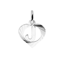 Hartvormige Zilveren Letter J-Bedel
