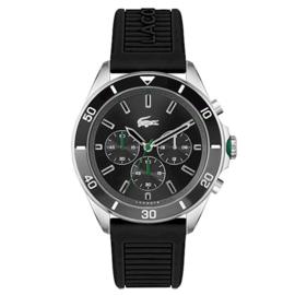 Lacoste Stalen Tiebreaker Horloge met Zwart Siliconen Horlogeband voor Heren