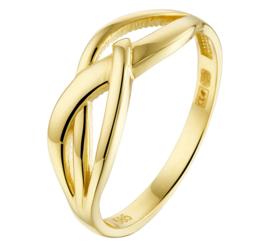 Geelgouden Dames Ring met Opengewerkte Voorkant