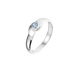 Zilveren Ring voor Kinderen met Blauwe Strass Steen