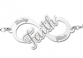 Names4ever Faith Infinity Armband van Zilver