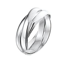 Zilveren Ring met Meerdere Bolle Stroken / Maat 16,5
