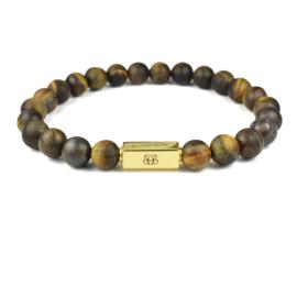 Gold Premium | Matte Tijgeroog Kralen Armband van Blaauw Bloed