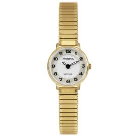 Prisma Goudkleurig Dames Horloge met Rekband