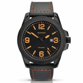 Zwart Heren Horloge van Edelstaal met Zwart Lederen Horlogeband