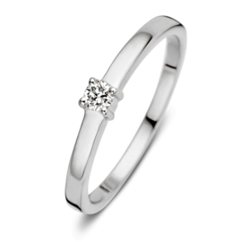 Excellent Jewelry Witgouden Ring met 0,09 crt. Briljant