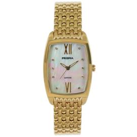Slank Goudkleurig Dames Horloge met Schakel Horlogeband en Parelmoer