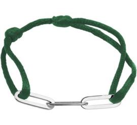 Groen Gevlochten Armband met Zilveren Schakels
