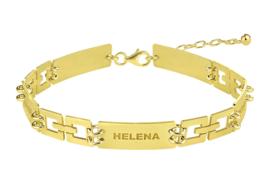 Names4ever Gouden Dames Armband met Graveerplaatjes GNA57
