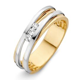 Excellent Jewelry Bicolor Dames Ring met Drie Briljanten