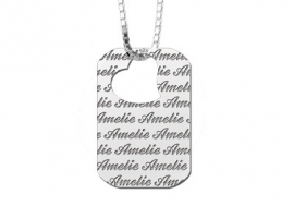 Names4ever Zilveren Dog Tag Ketting met Naampatroon ZNH23