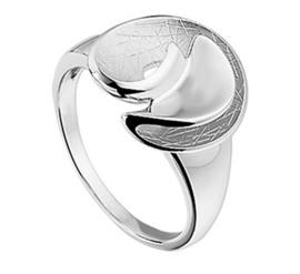Gescratchte Opengewerkte Spiraal Ring van Zilver / Maat 16