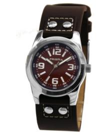 Zilverkleurig Robuust Happytime Kids Horloge met Bruin Lederen Horlogeband