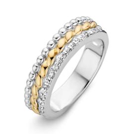 Excellent Jewelry Gevlochten Bicolor Ring met Zirkonia Rand