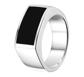 Ring met Onyx Steen / maat 19,5