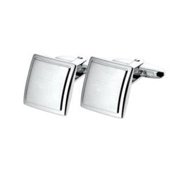 Vierkante Bolstaande Manchetknopen van Mat met Gepolijst Zilver met Rhodium