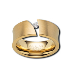 Goudkleurige Ring met Diagonale Opengewerkte Strook met Zirkonia