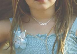 Names4ever Claire Stijl Zilveren Naamketting voor Kids ZNK28