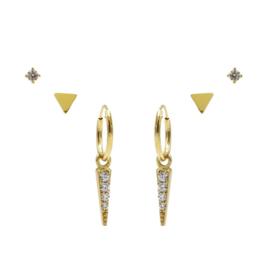 Karma Jewelry – Zesdelige Triangle Earparty Set - Gold