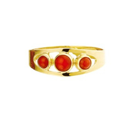 Elegante Vintage Ring met Bloedkoraal Steentjes