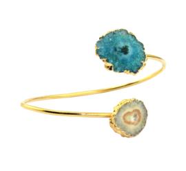 Bangle Armband met Quartz en Geode Druzy Edelstenen van Sujasa