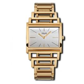Goudkleurig Light Line Dames Horloge met Opengewerkte band van M&M