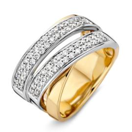 Excellent Jewelry Brede Bicolor Ring met 0,62 crt. aan Diamanten