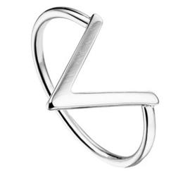 Grote V Ring van Gerhodineerd Zilver